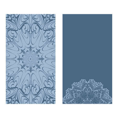 Design Vintage Cards With Floral Mandala Pattern And Ornaments. Vector Template. Islam, Arabic, Indian, Mexican Ottoman Motifs. Hand Drawn Background. Pastel blue color. 矢量图像