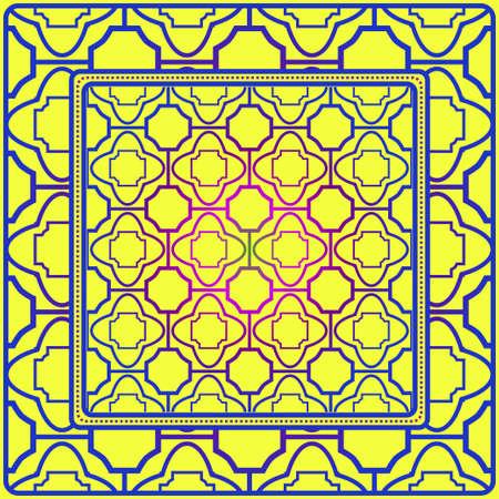 Design For Square Fashion Print. For Pocket, Shawl, Textile, Bandanna. Geometric Floral Pattern. Vector Illustration. Yellow blue color. Banque d'images - 117832829