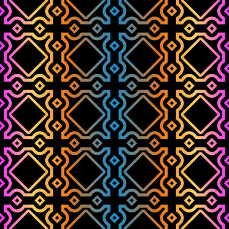 Decorative Geometric Ornament. Seamless Pattern. Vector Illustration. Tribal Ethnic Arabic, Indian, Motif. For Interior Design, Wallpaper. Rainbow color.  イラスト・ベクター素材