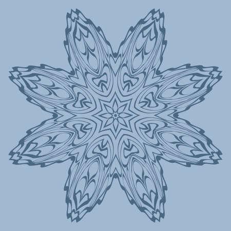 Flower Coloring Mandala. Decorative Elements. Vector Illustration. Oriental Pattern, Indian, Moroccan, Mystic, Ottoman Motifs. Blue pastel color.