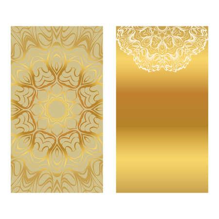 Card Template With Floral Mandala Pattern. Business Card For Fitness Center, Sport Emblem, Meditation Class. Vector Illustration. Gold color.