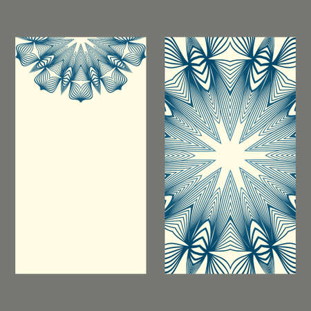 Set Of Template Greeting Card, Invitation With Space For Text. Mandala Design. Vector Illustration. Pastel blue color.