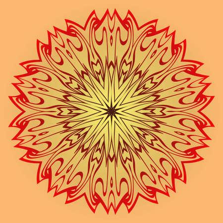 Ethnic Ornamental Mandala. Decorative Design Element. Vector Illustration. Sunrise color.