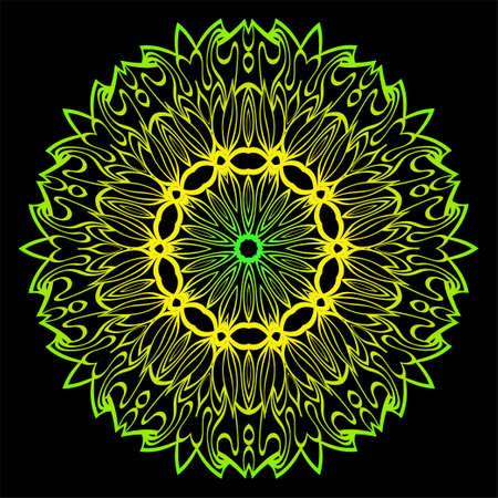 Floral Color Mandala. Arabic, Indian, Motifs. Vector Illustration. Black, green color. Illustration