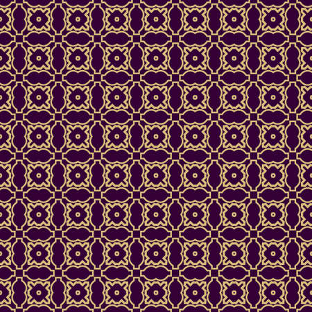Seamless Geometrical Linear Texture. Original Geometrical Puzzle. Backdrop. Vector Illustration. For Design, Wallpaper, Fashion, Print. Purple gold color. Illustration