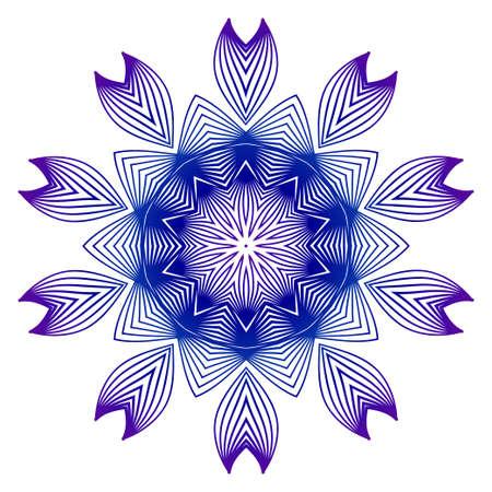 Vector Illustration. Modern Decorative Floral Mandala. Hand Drawn Background. Islam, Arabic, Indian, Ottoman Motifs. Purple blue gradient. Illustration