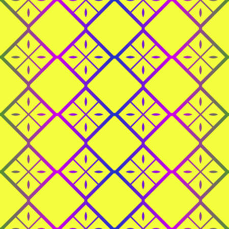 Vector Illustration. Pattern With Geometric Ornament, Decorative Border. Design For Print Fabric. Paper For Scrapbook. Yellow rainbow color. Ilustração