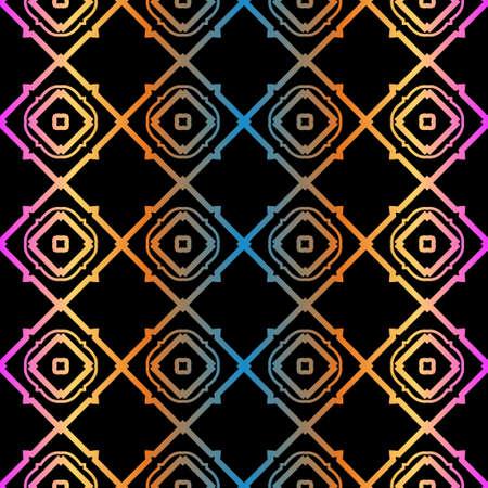 Geometric Pattern. Seamless Ornament. Vector Illustration. Rainbow black Color. For Design, Invitation Wedding, Valentines, Background, Wallpaper.