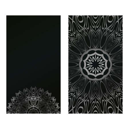 Card Template With Floral Mandala Pattern. Business Card For Fitness Center, Sport Emblem, Meditation Class. Vector Illustration. Black silver color.
