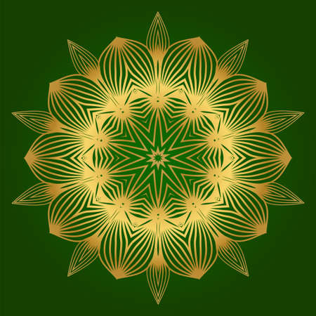Sacred Oriental Mandala. Floral Ornament. Vector Illustration. Can Be Used For Greeting Card, Coloring Book, Phone Case Print. Green gold color.