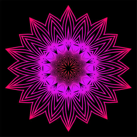 Floral Color Mandala. Arabic, Indian, Motifs. Vector Illustration. Black purple color.