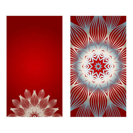 Cards Or Invitations Set With Mandala Ornament. Vector Illustration. For Wedding, Bridal, Valentines Day, Greeting Card Invitation. Red silver color.