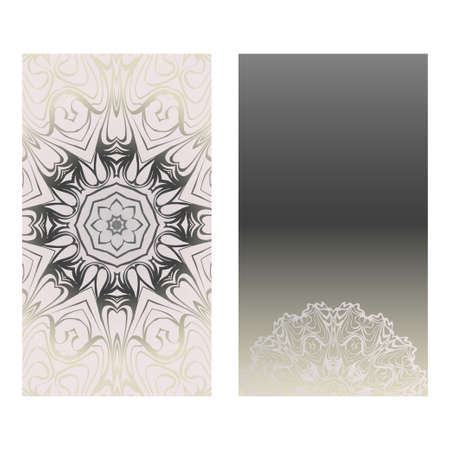 Cards Or Invitations Set With Mandala Ornament. Vector Illustration. For Wedding, Bridal, Valentines Day, Greeting Card Invitation. Grey color.