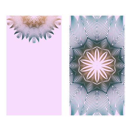 Collection Card With Relax Mandala Design. For Mobile Website, Posters, Online Shopping, Promotional Material. Romantic color.