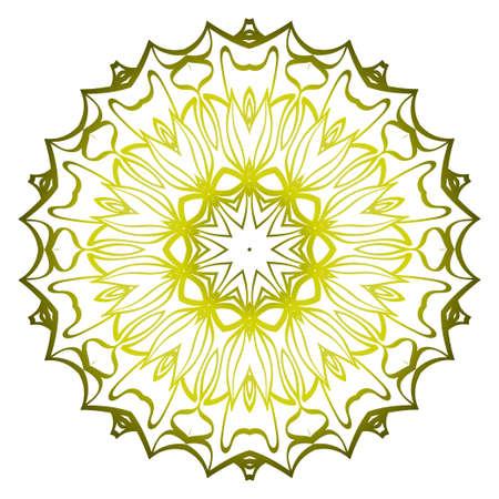 Mandala. For Design, Greeting Card, Invitation, Coloring Book. Arabic, Indian, Motifs. Vector Illustration. Green olive color.