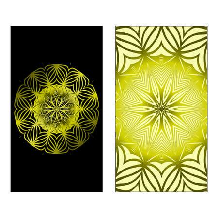 Vector Mandala Pattern For Template, Flyer Or Invitation Card. Black olive color. Çizim