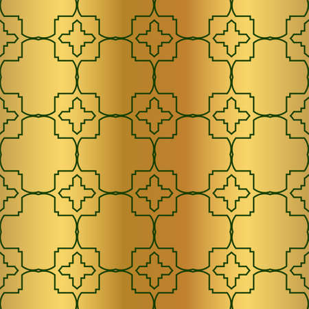 Pattern Of Geometric Shapes. Seamless Vector Illustration. For The Interior Design, Wallpaper, Printing, Textile Industry, Scrapbook Paper. Luxury design in green gold color.
