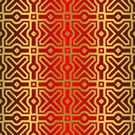 Seamless Modern Pattern. Art-Deco Geometric Background. Graphic Design. Vector Illustration. red gold color.