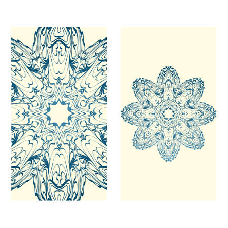 Invitation Or Card Template With Floral Mandala Pattern. Decorative Background For Wedding, Greeting Cards, Birthday Invitation. The Front And Rear Side. Milk blue color. Çizim