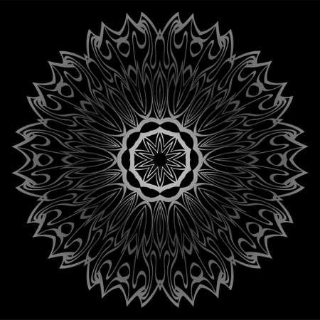 Mandala Ornament. Vector Illustration. For Wedding, Bridal, Valentines Day, Card Invitation. Oriental Pattern. Indian, Moroccan, Mystic, Ottoman Motifs. Anti-Stress Therapy Pattern. Silver, black Illustration