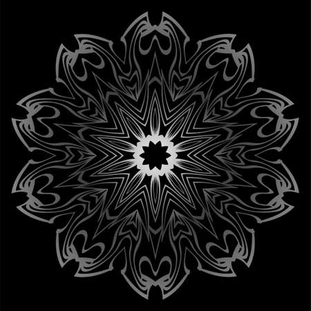 Mandala Ornament. Vector Illustration. For Wedding, Bridal, Valentines Day, Card Invitation. Oriental Pattern. Indian, Moroccan, Mystic, Ottoman Motifs. Anti-Stress Therapy Pattern. Silver, black Illustration