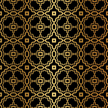 Luxury Pattern Of Abstract Geometric. Seamless Vector Illustration. For Design Greeting Cards, Backgrounds, Wallpaper, Interior Design. Tribal Ethnic Arabic, Fashion Decorative Ornament. Black gold.
