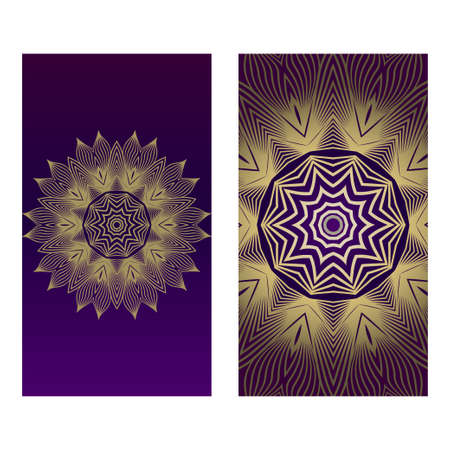 Ethnic Mandala Ornament. Templates With Mandalas. Vector Illustration For Congratulation Or Invitation. The Front And Rear Side. Romantic purple gold color. Illustration
