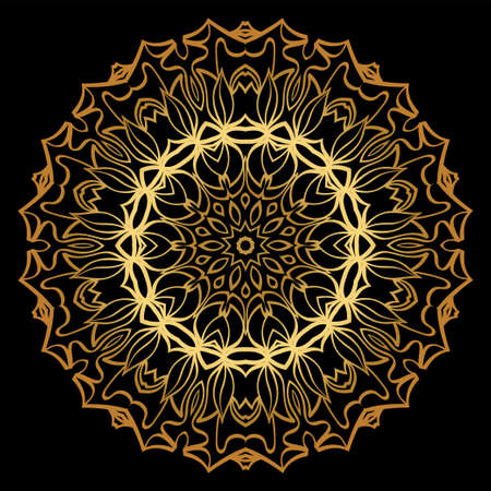 Anti-Stress Therapy Pattern. Mandala. For Design Backgrounds. Vector Illustration. Can Be Used For Textile, Greeting Card, Coloring Book, Phone Case Print. Luxury black, gold color. Illustration