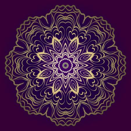 Flower Round Pattern. Vector Illustration. For Design, Invitation Wedding, Valentines, Background, Wallpaper, Interior. Purple gold color.