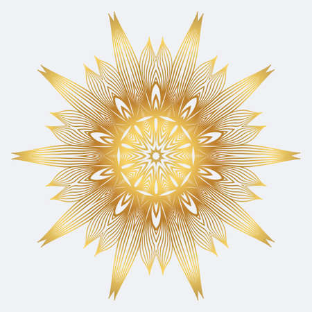 Modern Floral Vector Ornaments. Decorative Flower Mandala. Vector Illustration. White yellow gold colour.