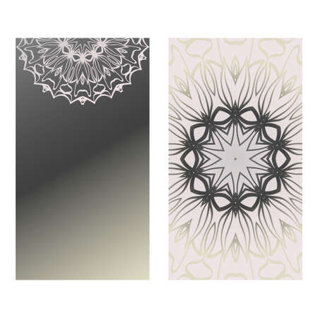 Design Vintage Cards With Floral Mandala Pattern And Ornaments. Vector Template. Islam, Arabic, Indian, Mexican Ottoman Motifs. Hand Drawn Background. Grey silver color. Illustration