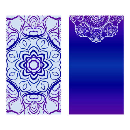Vintage Cards With Floral Mandala Pattern. Vector Template. The Front And Rear Side. Blue, purple silver color.