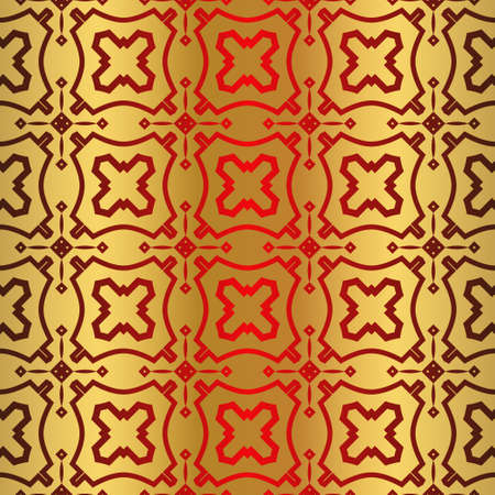 Retro Beautiful Seamless Geometric Ornament Vector Illustration. Abstract. Paper For Scrapbook. For your advert design, presentation, wallpaper, business. Gold red color.