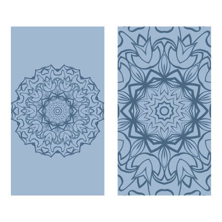 Templates Card With Mandala Design. Heathcare, Lifestyle Flyer. Vector Illustration. Blue pastel color.
