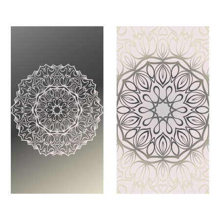 Vintage Cards With Floral Mandala Pattern. Vector Template. The Front And Rear Side. Grey silver color.
