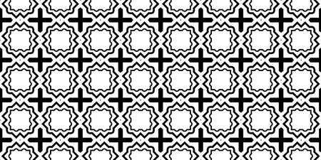 Vector Illustration. Pattern With Traditional Geometric Ornament, Decorative Border. Design For Print Fabric. Paper For Scrapbook. Black white color.