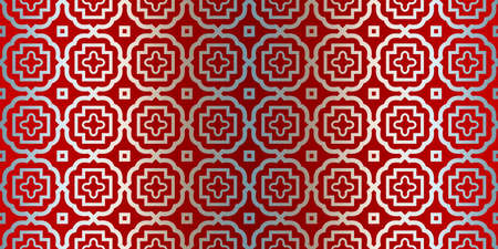 Abstract Vector Seamless Pattern With Abstract Geometric Style. Repeating Sample Figure And Line. For Fashion Interiors Design, Wallpaper, Textile Industry. Silver red color.
