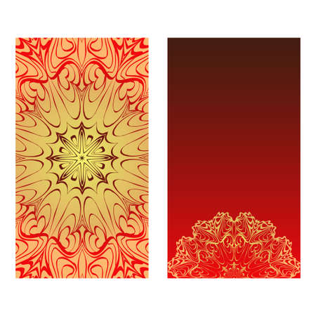 Templates For Greeting And Business Cards. Vector Illustration. Oriental Pattern With. Mandala. Wedding Invitation. Luxury red, sunrise gold color.
