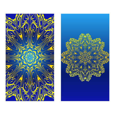 Invitation Or Card Template With Floral Mandala Pattern. The Front And Rear Side. Vector Illustration. Blue yellow color.