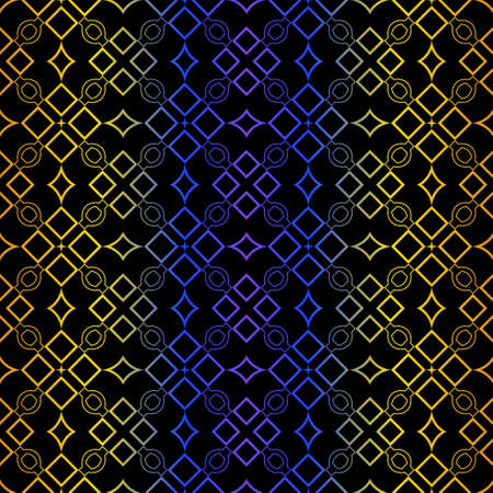 Art Deco Retro Pattern Of Geometric Elements. Seamless Pattern. Vector Illustration. Design For Printing, Presentation, Textile, Business, Advert, Flyer. Blue yellow gradient on black background.