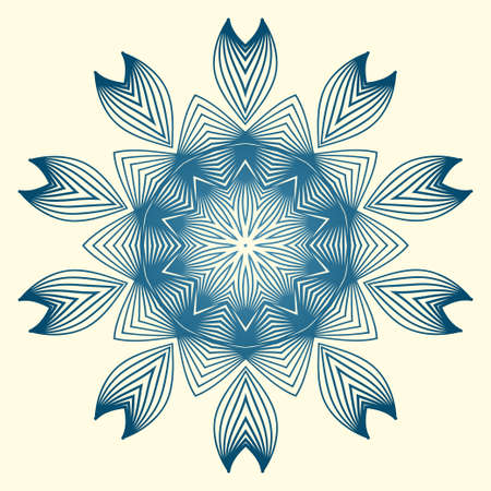 Vintage Invitation Card With Mandala Pattern. Decorative Elements. Vector Illustration. Anti-Stress Therapy Pattern. White blue colour.
