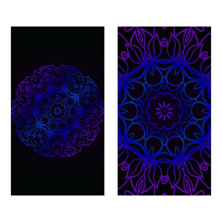 Cards Or Invitations Set With Mandala Design . The Front And Rear Side. Vector Illustration. Blue, black color.