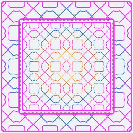 Design Print. The Pattern Of Geometric Ornament. Vector Illustration. The Idea For Design Prints For Neck Scarves, Carpets, Bandanas. Rainbow color. Ilustração