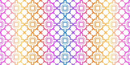 Unique, Abstract Geometric Pattern. Seamless Vector Illustration. For Fantastic Design, Wallpaper, Background, Fantastic Print. Rainbow neon gradient color.