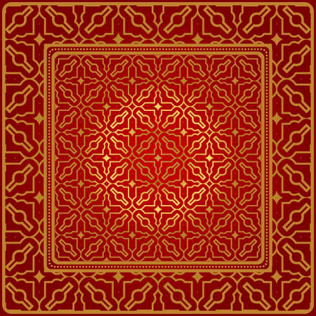 Design Of A Geometric Pattern. Vector. For Wallpaper, Flyer, Book, Brochure. Red gold color.