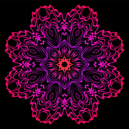 Design With Beautiful Floral Mandala Ornament. Vector Illustration. For Coloring Book, Tattoo. Anti-Stress Therapy Pattern. Indian, Moroccan, Mystic, Ottoman Motifs. Black, purple color.
