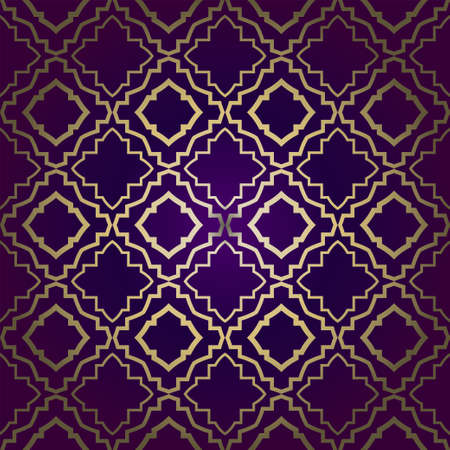Stylish Geometric Texture. Repeating Background With Chaotic Forms. Vector Ornament. For Wallpaper, Fashion, Print, Scrapbook Paper, Advert, Business, Presentation. Luxury design in purple gold color Vetores