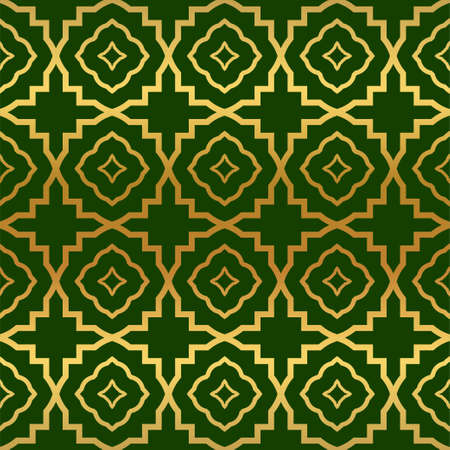 Vector Illustration. Pattern With Geometric Ornament, Decorative Border. Design For Print Fabric. Paper For Scrapbook, advert, poster, flyer background. Green, gold color.