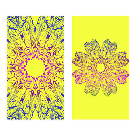 Ethnic Mandala Ornament. Templates With Mandalas. Vector Illustration For Congratulation Or Invitation. The Front And Rear Side. Yellow, rainbow color. Vectores
