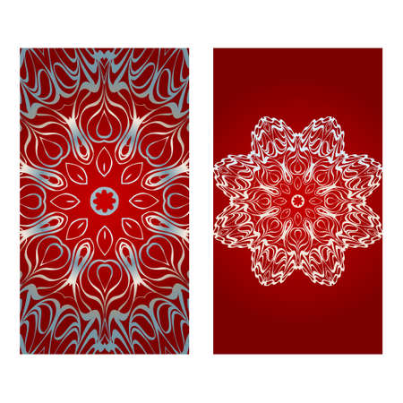 Vintage Einladungskarte mit Mandala-Muster. Die Vorder- und Rückseite. Schöne Verzierung. Vektor-Illustration. rot-silberne Farbe. Vektorgrafik
